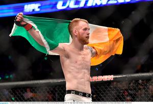 Paddy Holohan celebrates his unanimous decision victory over Shane Howell following their flyweight bout