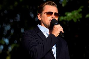 Actor Leonardo DiCaprio speaks on stage during the Global Citizen Festival in Central Park in New York