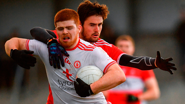 Cathal McShane of Tyrone in action against Christopher McKaigue of Derry. Photo by Sam Barnes/Sportsfile