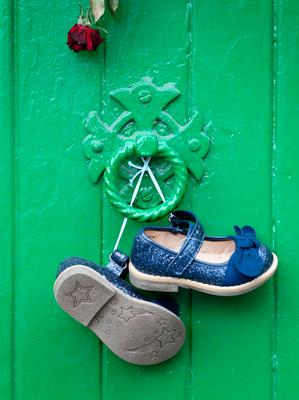 Childrens shoes hang on the front door of the  Magdalene Laundry in Sean McDermott St .Picture Credit:Frank McGrath 30/8/18