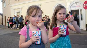 Beth Dooley age 5 with her sister Sophie age 7 at Scrumdiddlys ice-cream shop on Albert Terrace, Dun Laoghaire