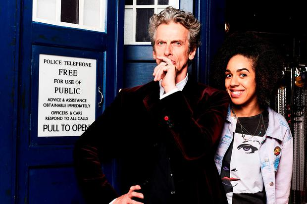 Peter Capaldi as Doctor Who with Pearl Mackie who has been named as the new Doctor Who companion Credit: Ray Burmiston/BBC/PA Wire