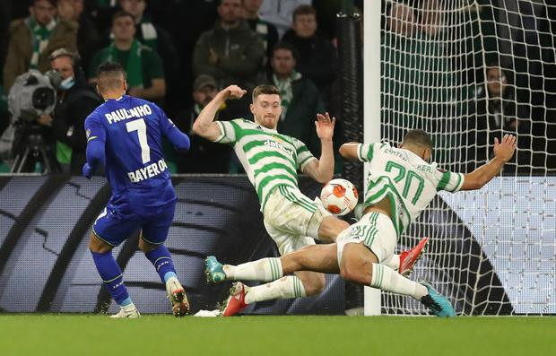 Celtic's Cameron Carter-Vickers handles the ball which results in a penalty for Bayer Leverkusen during the Europa League Group G ckash at Celtic Park, Glasgow