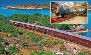 Belmond's Royal Scotsman with the new 'Grand Hibernian' carriages (inset). The Irish train launches in August, 2016.