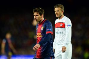 Lionel Messi and David Beckham at the Nou Camp