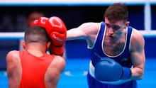 Ireland's Brendan Irvine (blue) defeats Czech Republic's Istvan Szaka (blue) during day three of the Boxing Road to Tokyo 2020 Olympic qualifying event at the Copper Box Arena, London.
