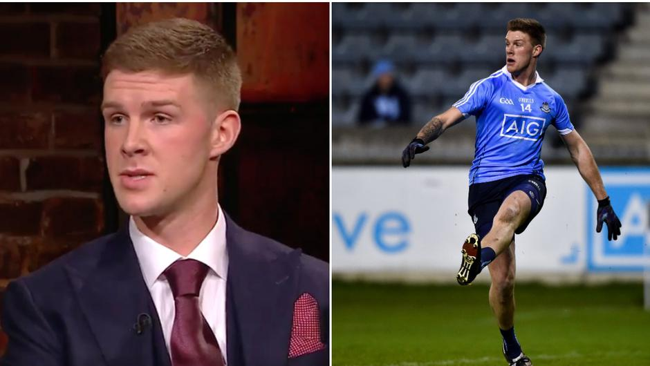 Shane Carthy (left) during his appearance on The Late Late Show and during his time playing with Dublin.