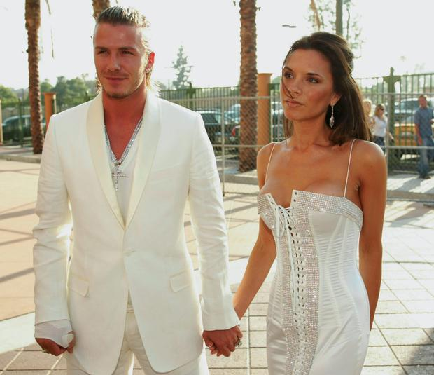 David and Victoria Beckham attend The 2003 MTV Movie Awards held at the Shrine Auditorium on May 31, 2003