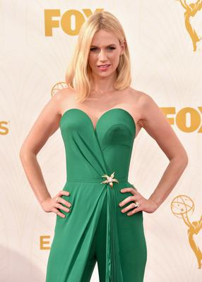 Now:  Actress January Jones attends the 67th Emmy Awards at Microsoft Theater on September 20, 2015 in Los Angeles, California.  (Photo by Alberto E. Rodriguez/Getty Images for TNT LA)