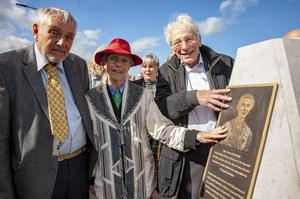 Pride: From left: Patrick Danjou, son of Mary Elmes, with Charlotte Berger-Greneche and Georges Koltein, who were rescued from deportation to Auschwitz, at the unveiling of a plaque in memory of Mary Elmes. Photo: Brian Lougheed
