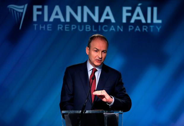 Fianna Fail leader Micheal Martin speaking at the party's opening press conference of the general election at their election headquarters in Dublin city centre. Brian Lawless/PA Wire