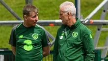 Republic of Ireland manager Mick McCarthy (right) has departed the role, making way for Under-21s manager Stephen Kenny. Photo: Harry Murphy/Sportsfile