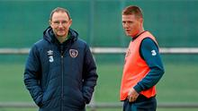 Republic of Ireland manager Martin O'Neill with James McCarthy, during squad training. Gannon Park, Malahide, Co. Dublin. Picture credit: David Maher / SPORTSFILE