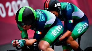 Eve McCrystal, pilot, and Katie George Dunlevy, stoker, both of Ireland, competing in the women's 'B' time trial at the Fuji International Speedway on day seven during the Tokyo 2020 Paralympic Games in Shizuoka, Japan. Photo: Sportsfile