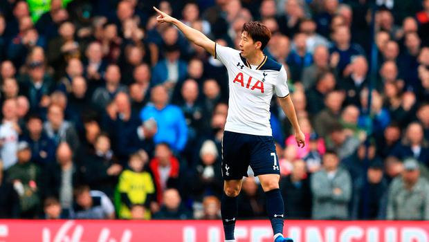 Son Heung-Min gestures towards the crowd after putting Spurs 3-0 ahead. Photo: John Walton/PA Wire
