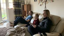 Pictured is journalist Kevin Palmer's wife Tracy, with their children Jacob (17) and Ana (7)
