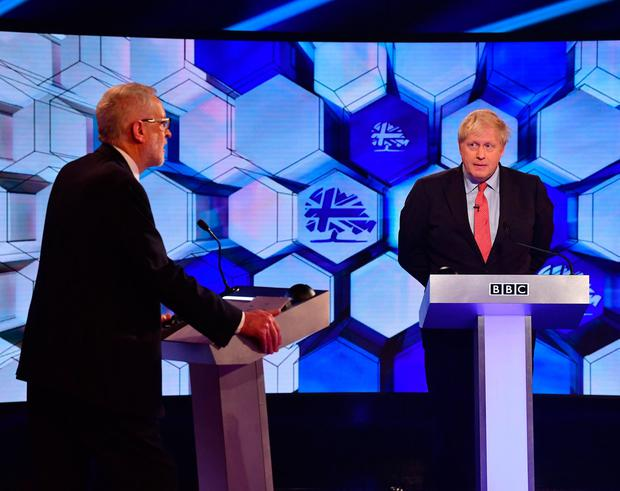 Prime Minister Boris Johnson and Labour leader Jeremy Corbyn (left) going head to head in the BBC Election Debate in Maidstone, while on the election campaign trail. Jeff Overs/BBC/PA Wire