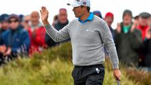 29 May 2015; Padraig Harrington, Ireland, after a birdie putt on the 17th hole. Dubai Duty Free Irish Open Golf Championship 2015, Day 2. Royal County Down Golf Club, Co. Down. Picture credit: Ramsey Cardy / SPORTSFILE