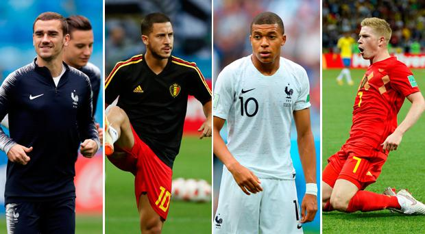 Griezmann, Hazard, Mbappe and De Bruyne