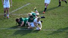 Ireland fail to stop Sarah McKenna scoring a try for England. Photo by George Wood/Getty Images