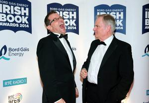 Jeffrey Archer with Paul Howard at the Bord Gais Energy Irish Book Awards at the Double Tree by Hilton Hotel in Dublin. Picture:Arthur Carron