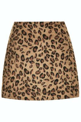 Leopard pelmet skirt with faux fur textured finish, €57.50, Topshop
