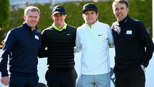 Manchester United fan Rory McIlroy teed it up with former Old Trafford stars Paul Scholes and Phil Neville and pop star Niall Horan of One Direction at yesterday's Pro-Am ahead of the BMW PGA Championship at Wentworth