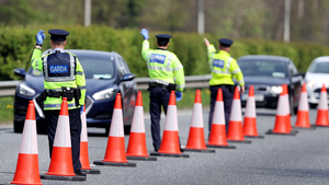 Checkpoint: Gardaí on the N11 at Bray. Photo: Steve Humphreys