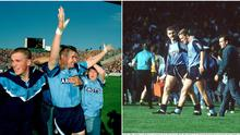 Dublin suffered years of All-Ireland heartbreak before finally triumphing against Tyrone in 1995 (left). Image: Sportsfile.