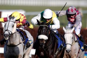 Many Clouds (centre), under Leighton Aspell, fends off the two greys Dynaste (left) and Smad Place to win at Cheltenham on Saturday. Photo: Alan Crowhurst/Getty Images