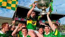 7 October 2000; Kerry captain Seamus Moynihan is carried by team mates with the Sam Maguire Cup after defeating Galway. Picture credit; Brendan Moran/SPORTSFILE