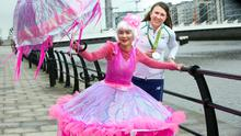 This year's St. Patrick's Festival Grand Marshall Olympic sailing silver medalist, Annalise Murphy with Jellyfish, Piyanuch Chanphet from Artastic. Photo: Tony Gavin