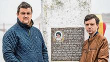 Determined: Sandra's brothers Patrick and David at the pier where she disappeared almost 20 years ago. Photo: Keith Heneghan