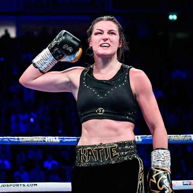 Katie Taylor celebrates following her WBO Women's Super-Lightweight World title fight against Christina Linardatou