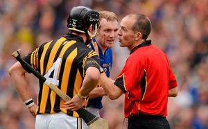 NOW NOW!: Referee Cathal McAllister speaks to Tipperary's Lar Corbett and Kilkenny's Jackie Tyrrell after a scuffle during 2012 All-Ireland semi-final. Photo: Ray McManus/SPORTSFILE