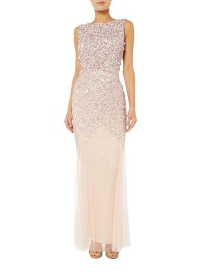 Lace and beads embellished gown, House of Fraser