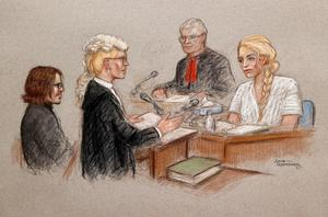 A courtroom sketch of actor Amber Heard giving testimony at the High Court in London, Britain July 20, 2020. Julia Quenzler via REUTERS