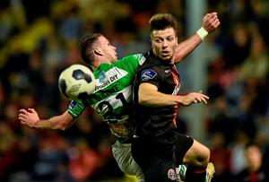 Bohemians' Jack Memery challenges for the ball with Ciaran Kilduff of Shamrock Rovers during their league clash at Dalymount Park. Photo: David Maher / SPORTSFILE