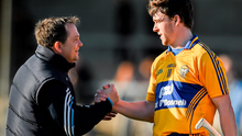 Clare manager Davy Fitzgerald and Man of the Match Tony Kelly celebrate their side's victory over Dublin. Allianz Hurling League Division 1A Round 4, Clare v Dublin. Cusack Park, Ennis, Co. Clare. Picture credit: Diarmuid Greene / SPORTSFILE