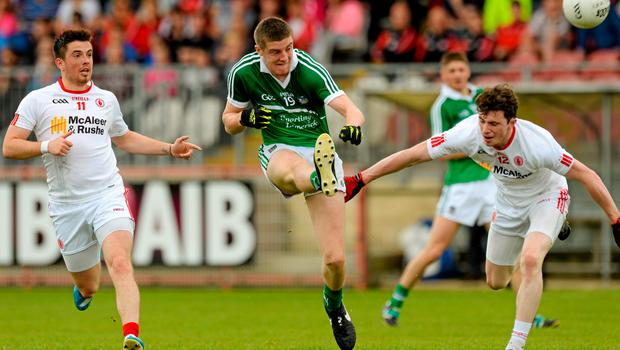28 June 2015; Brian Fanning, Limerick, in action against Ronan O'Neill and Rory Brennan, Tyrone. GAA Football All-Ireland Senior Championship, Round 1B, Tyrone v Limerick. Healy Park, Omagh, Co. Tyrone. Picture credit: Oliver McVeigh / SPORTSFILE