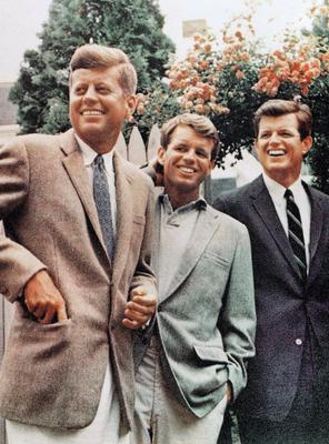 John F. Kennedy, left, Robert Kennedy, and Ted Kennedy