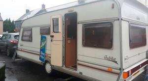 The caravan used by Sinn Fein MLA Colm Gildernew for Saturday's constituency advice clinic in Moy, Co Tyrone