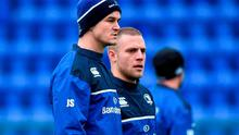 Leinster's Jonathan Sexton, left, and Ian Madigan during squad training.
