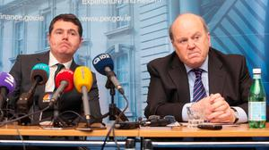 Public Expenditure Minister Paschal Donohoe (left) and Finance Minister Michael Noonan. Mr Donohoe is a measured politician, so his criticism of FF over its water charges stance is significant. Photo: Gareth Chaney/Collins