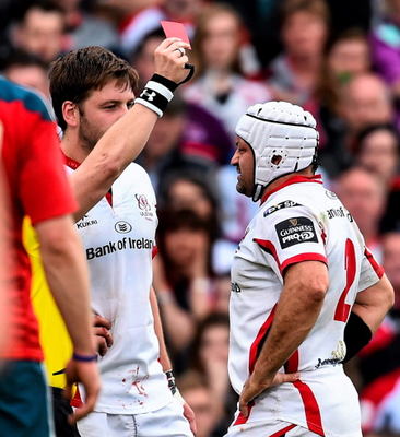 Ulster's Iain Henderson is shown a red card by referee Nigel Owens.