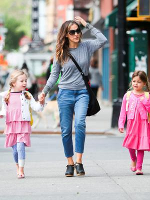 Sarah Jessica Parker seen with daughters Marion and Tabitha Lee on May 20, 2015 in New York City.  (Photo by Charles Bladen/GC Images)