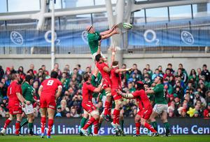 Paul O'Connell, Ireland, wins possession from a lineout against Wales at Lansdowne Road