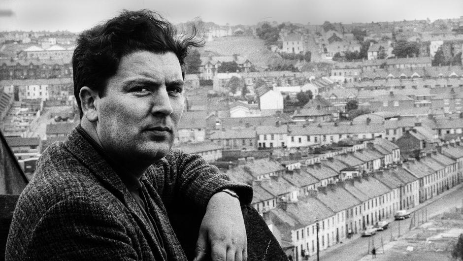 John Hume poses on a rooftop overlooking the Bogside in Derry. Photo: Leif Skoogfors/Getty Images