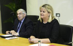 Board Members of the Rehab Group Brian Kerr Chairman & Angela Kerins during a discussion by the board over the release of details of pay for its Chief Executive, Angela Kerins at Rehab's Offices in Sandymount, Dublin. Photo: Gareth Chaney Collins