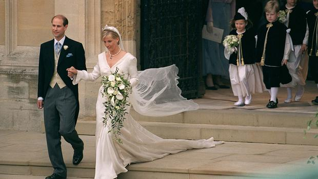 Prince Edward And His Bride, Sophie Rhys-jones, On Their Wedding Day At St George's Chapel, Windsor in 1999